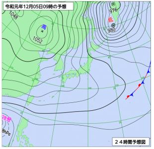 12月5日(木)9時の予想天気図