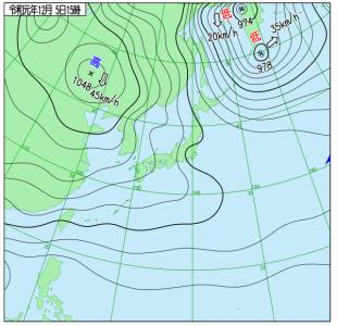 12月5日(木)15時の実況天気図