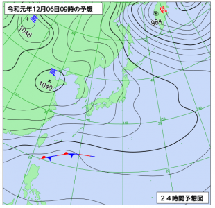12月6日(金)9時の予想天気図