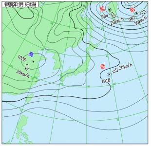 12月6日(金)15時の予想天気図