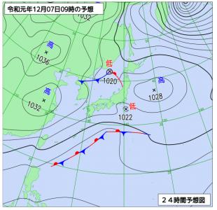 12月7日(土)9時の予想天気図
