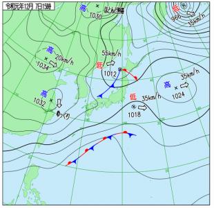 12月7日(土)15時の実況天気図