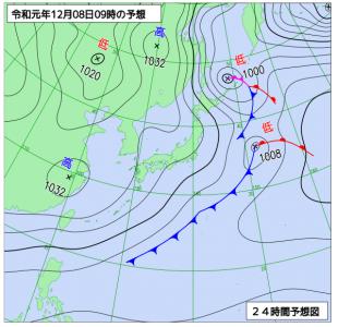 12月8日(日)9時の予想天気図