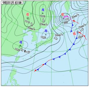 12月8日(日)15時の実況天気図