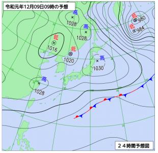12月9日(月)9時の実況天気図