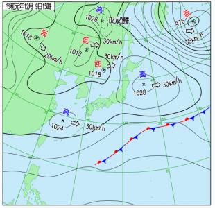 12月9日(月)15時の実況天気図