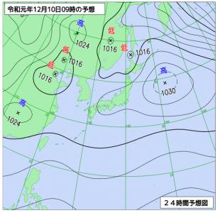 12月10日(火)9時の実況天気図