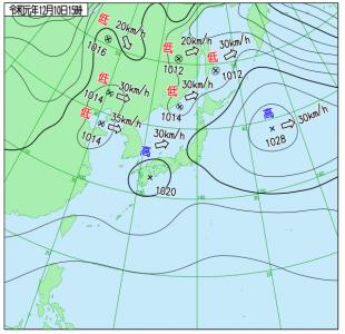 12月10日(火)15時の実況天気図