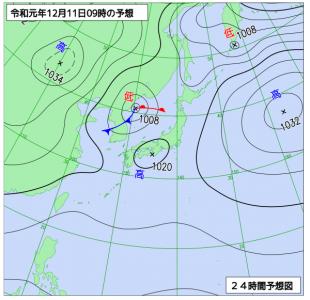 12月11日(水)9時の実況天気図