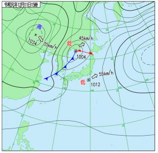 12月11日(水)15時の実況天気図