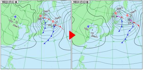12月12日(木)9時と15時の実況天気図