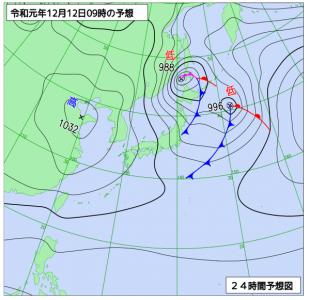 12月12日(木)9時の予想天気図