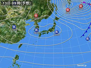 12月13日(金)9時の実況天気図