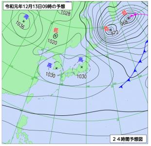 12月13日(金)9時の予想天気図