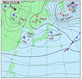 12月13日(金)15時の実況天気図