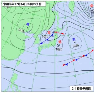 12月14日(土)9時の実況天気図