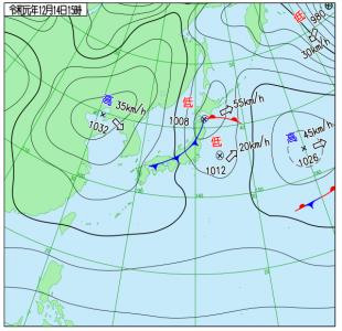 12月14日(土)15時の実況天気図