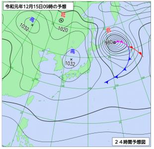 12月15日(日)9時の実況天気図