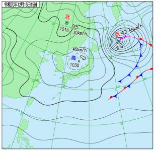 12月15日(日)15時の実況天気図