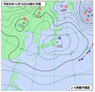 12月16日(月)9時の実況天気図