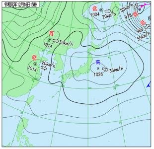 12月16日(月)15時の実況天気図