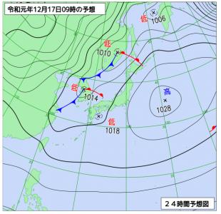 12月17日(火)9時の予想天気図