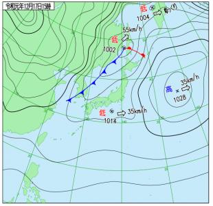 12月17日(火)15時の実況天気図