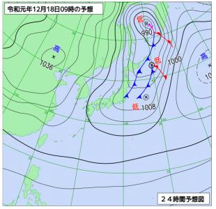 12月18日(水)9時の予想天気図