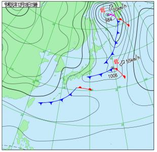 12月18日(水)15時の実況天気図