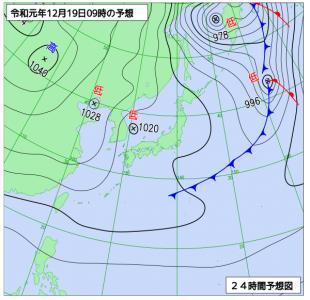 12月19日(木)9時の予想天気図
