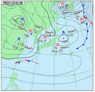 12月19日(木)15時の実況天気図