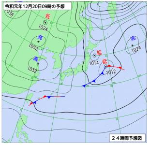 12月20日(金)9時の実況天気図