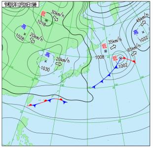 12月20日(金)15時の実況天気図
