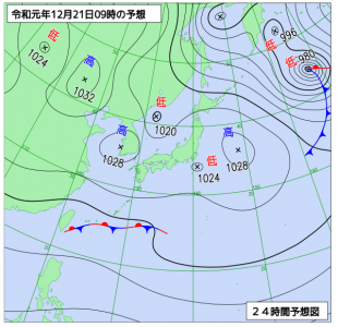 12月21日(土)9時の予想天気図