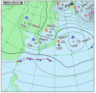 12月21日(土)15時の実況天気図