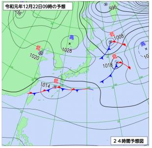 12月22日(日)9時の予想天気図