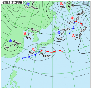 12月22日(日)15時の実況天気図