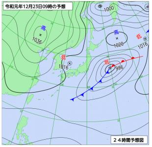12月23日(月)9時の予想天気図