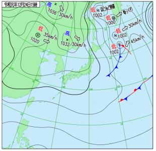 12月24日(火)15時の実況天気図