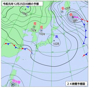 12月25日(水)9時の予想天気図
