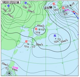 12月25日(水)15時の実況天気図
