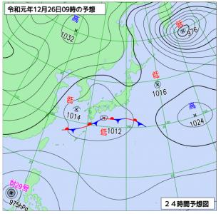 12月26日(木)9時の予想天気図
