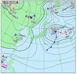 12月27日(金)15時の実況天気図