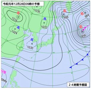 12月28日(土)9時の予想天気図