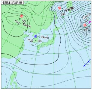 12月28日(土)15時の実況天気図