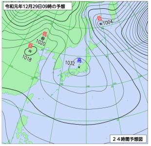 12月29日(日)9時の予想天気図