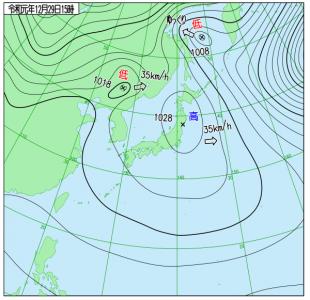 12月29日(日)15時の実況天気図