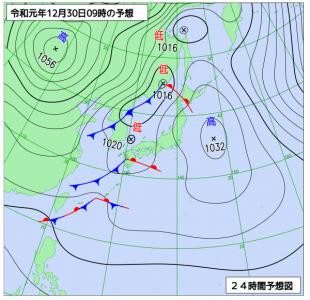 12月30日(月)9時の予想天気図