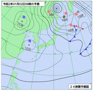 1月2日(木)9時の予想天気図