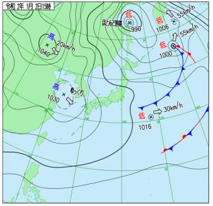 1月2日(木)15時の実況天気図